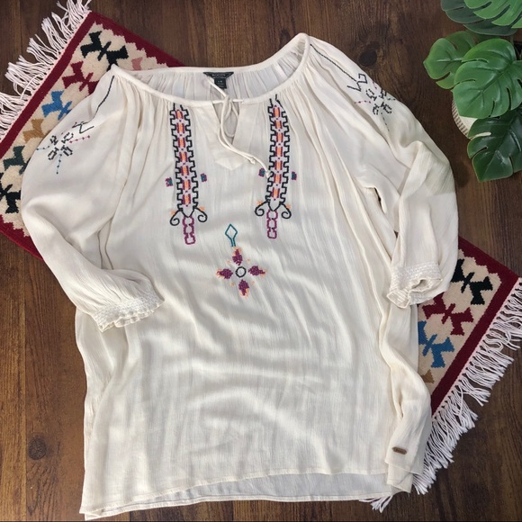 Roots Embroidered Peasant Blouse